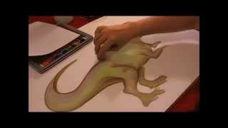 Dinosuar drawing T-rex with soft pastels