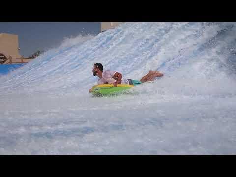 Mateo FlowRider FLow Barrel at Yas Waterworld Waterpark Abu Dhabi Dubai UAE Surf Machine Pro Tricks