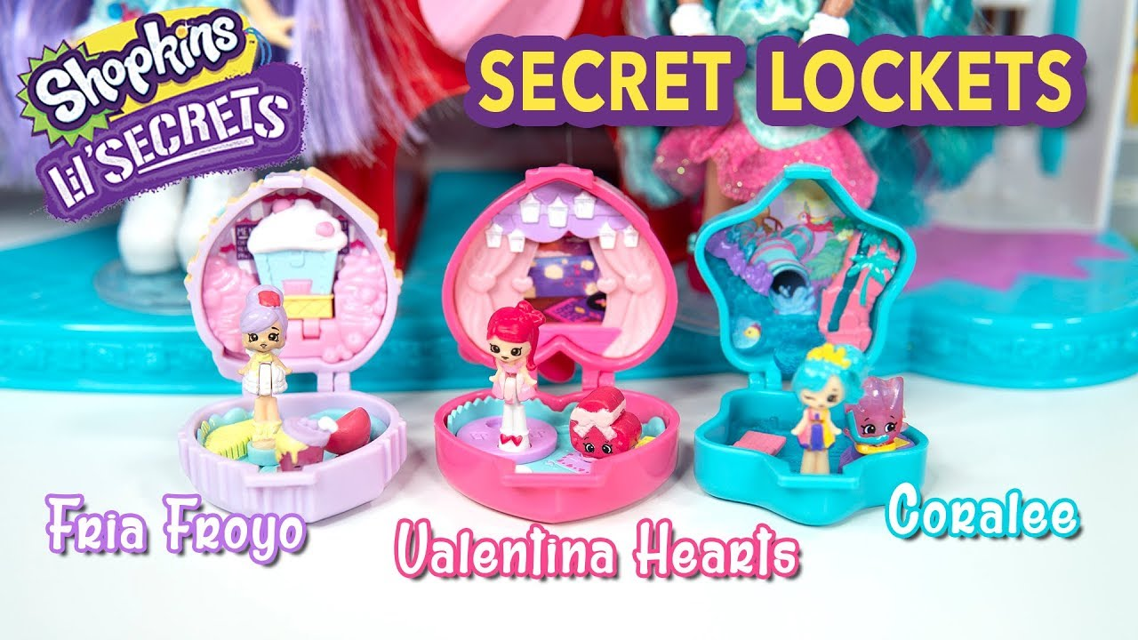 Shopkins Lil/' Secrets LOCKET Party POP UPS Set 4 Shoppie Dolls Wave 3