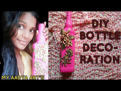 DIY BOTTLE DECORATION/BOTTLE ART/CLAY ART