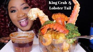 KING CRAB + LOBSTER TAIL  , SEAFOOD BOIL MUKBANG , THE JUICY CRAB SAUCE