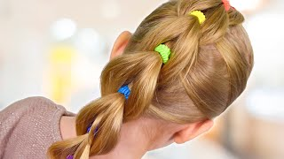 PULL THROUGH BRAID with BRIGHT ELASTICS | Back to School hairstyle| Little girls hairstyles #29 #LGH