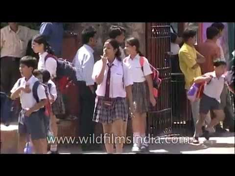 Springdales School girls and boys cross road in Delhi