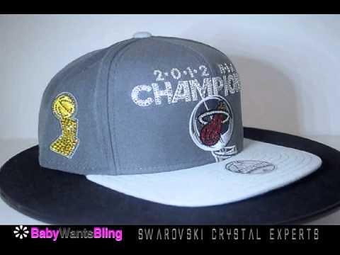 2012 NBA Champions Miami Heat Swarovski Crystal Rhinestone Bling Unisex Hat Cap Trophy