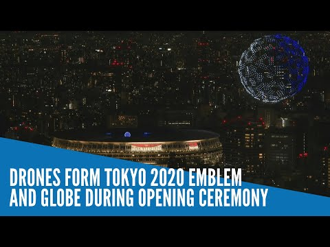 Drones form Tokyo 2020 emblem and globe during opening ceremony