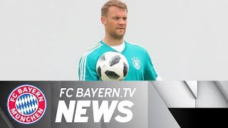 FC Bayern players join World Cup squads, Manuel Neuer in training
