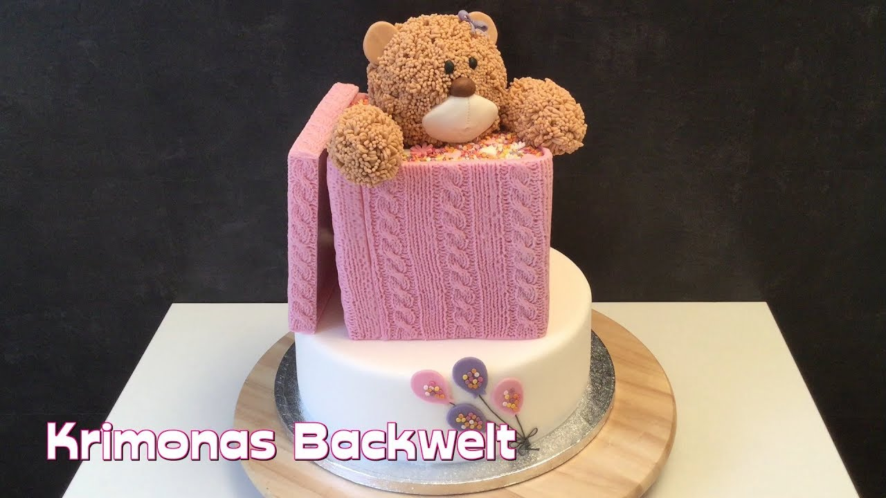 Teddy Br Fondant Torte Strickmuster Box Bear Cake Knitted Box