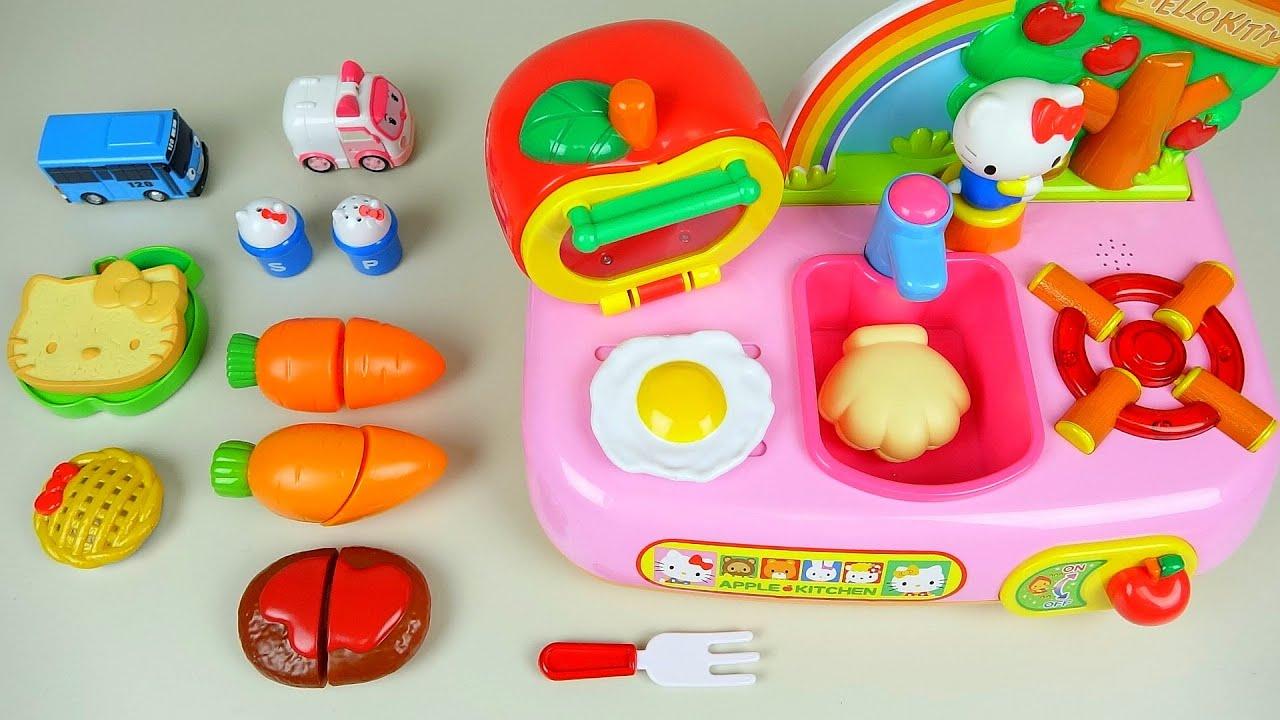 Toy Kitchen Hello Kitty and food cooking sound toys asmr 헬로키티 ...
