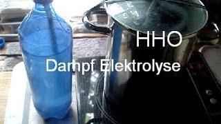 Induktion Dampfelektrolyse Wasserstoff aus Kochtopf.