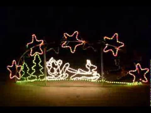 christmas lights led santa sleigh skyline silhouette
