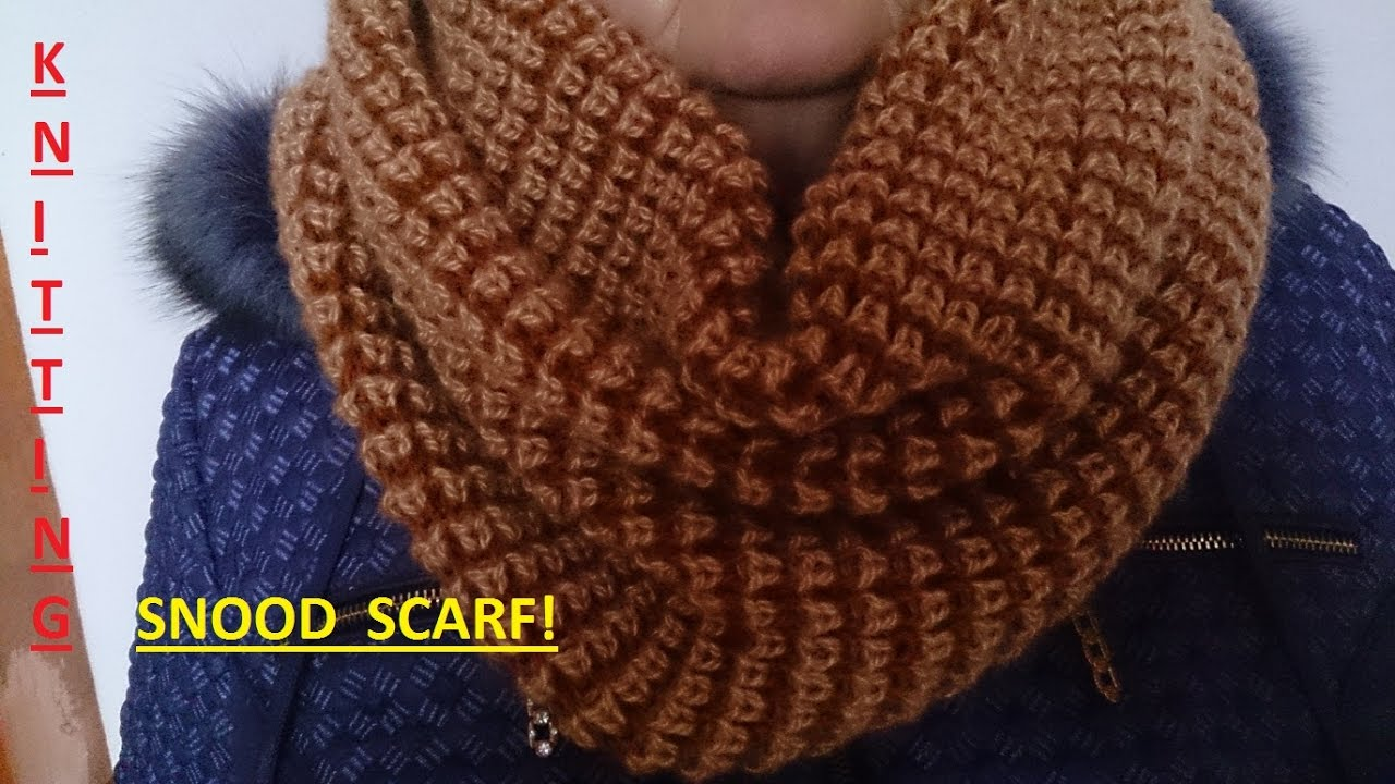 Knitting Simple And Quick Knit Fashionable Snood Scarf Youtube