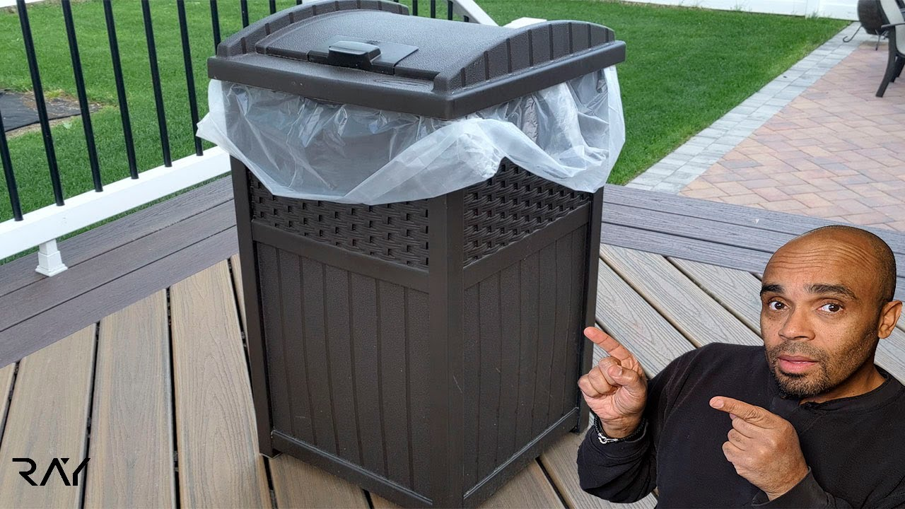 quick look at the suncast 33 gallon outdoor trash can resin outdoor trash hideaway with lid