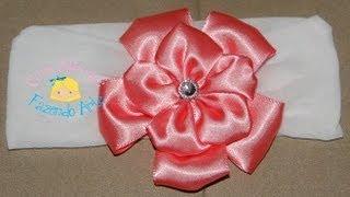 Faixa de meia de seda com flor de fita de cetim - Passo a Passo (DIY) thumbnail