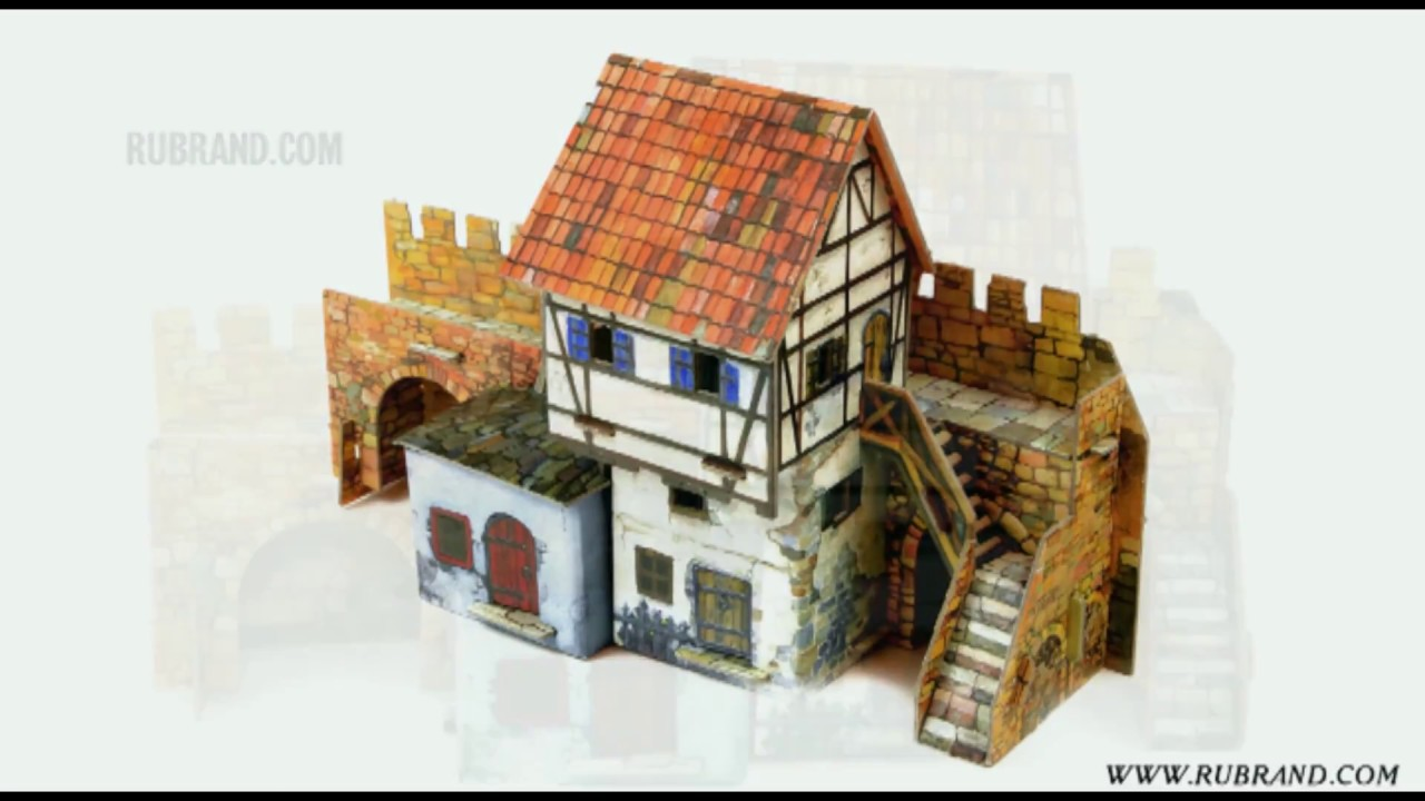 A house by the wall - cardboard terrain for war games and dioramas by UMBUM  (Clever Paper (250))