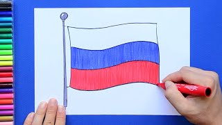 How to draw and color the National Flag of Russia