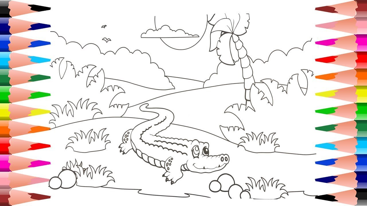 painting crocodile coloring pages for kids coloring jungle for