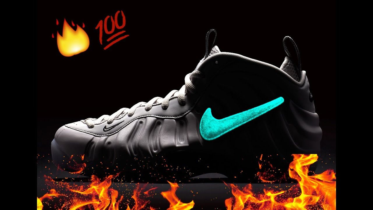 "b9e5146df1e Nike Air Foamposite Pro ""All-Star"" (Glow-In-The-Dark Swoosh ) - YouTube"