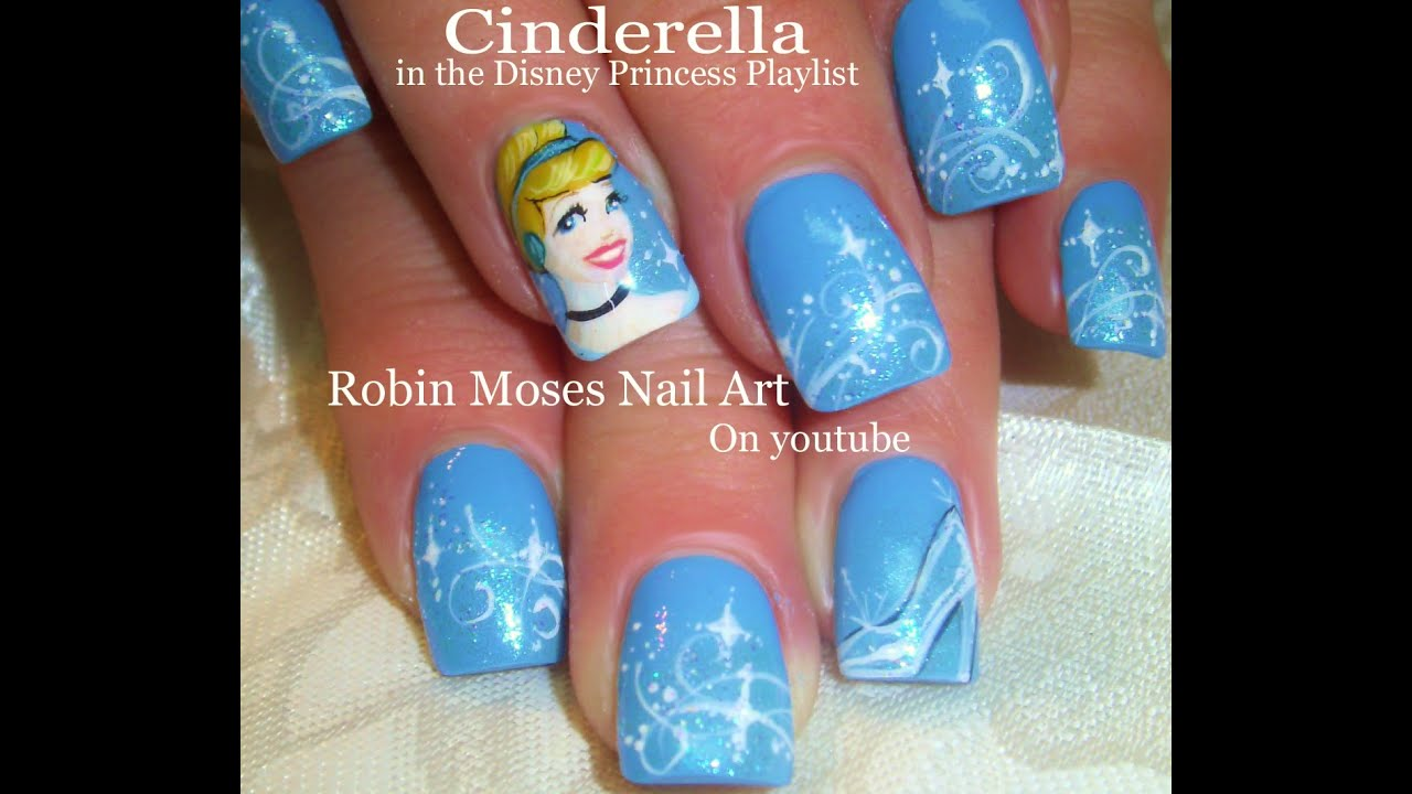 Nail Art Tutorial | Cinderella Nails | Disney Princess Nail Design - Nail Art Tutorial Cinderella Nails Disney Princess Nail Design