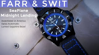 Farr and Swit Seaplane Midnight Landing Hand assembled in the USA Swiss Automatic Sapphire Bezel