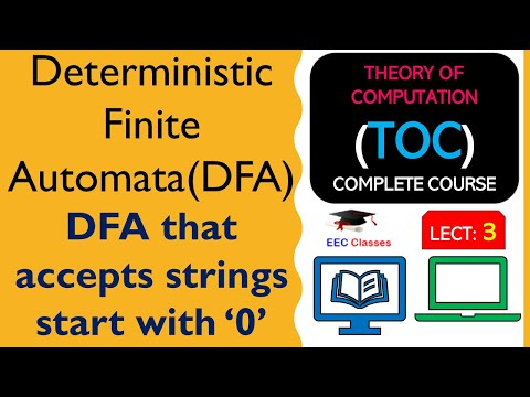 TOC Lecture 2: DFA Definition, Examples   DFA that accepts strings start with '0'