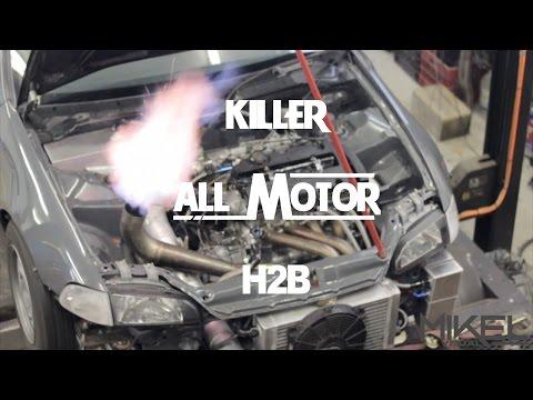 All Motor H2B Honda Civic Making Power On The Dyno