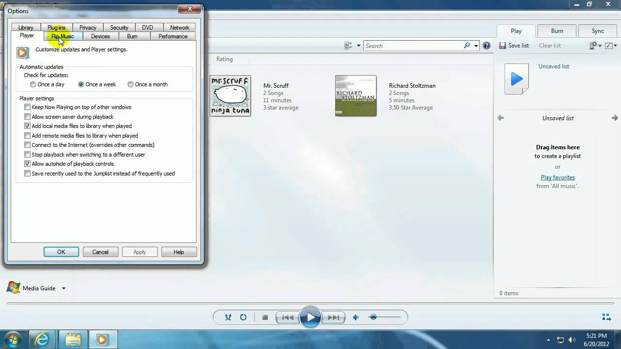 how to make windows media player my default player