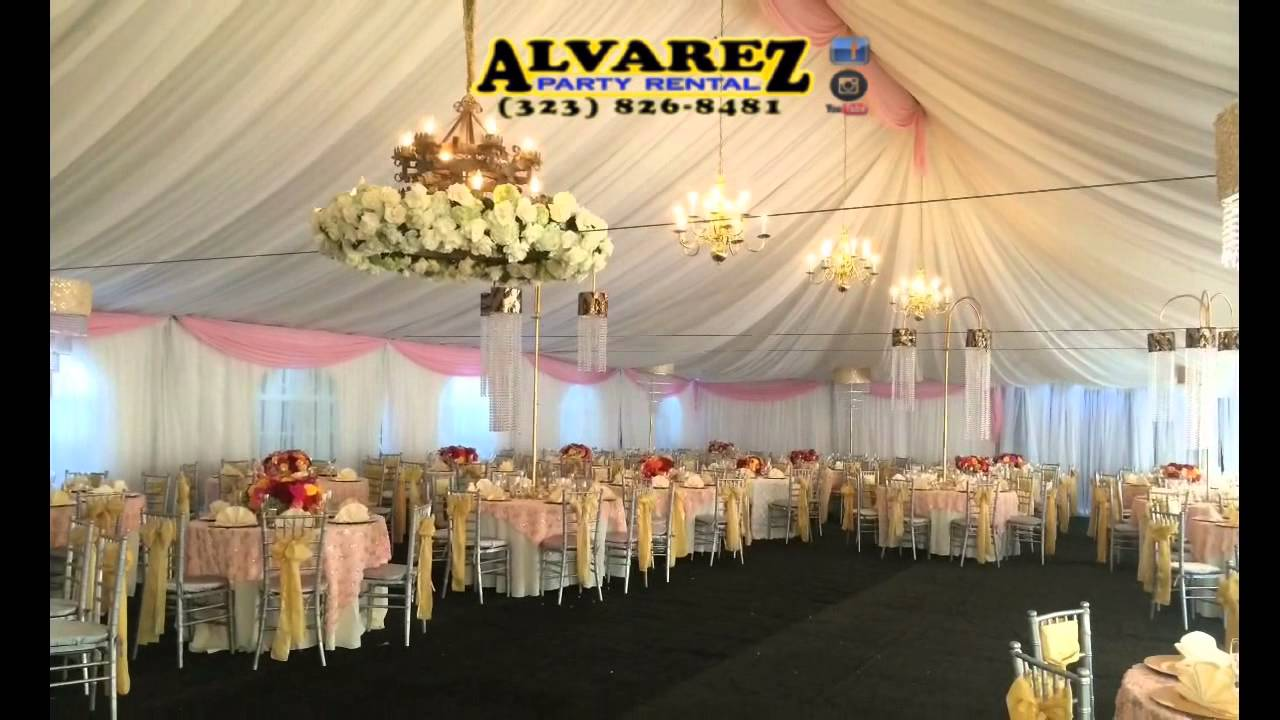 Alvarez party rental XV LIGHT PINK WHITE N GOLD YouTube