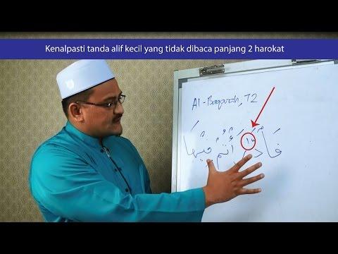 Kenalpasti tanda alif kecil yang tidak dibaca panjang 2 harokat.