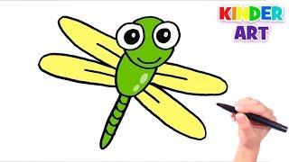 Как нарисовать стрекозу поэтапно ребенку | How to Draw a Cartoon Dragonfly Easy for kids