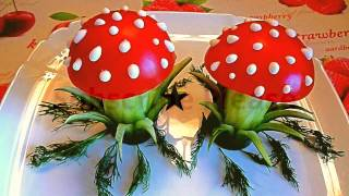 HOW TO MAKE MUSHROOM TOMATO AND CUCUMBER & CUCUMBER GARNISH - TOMATO DECORATION - VEGETABLE CARVING