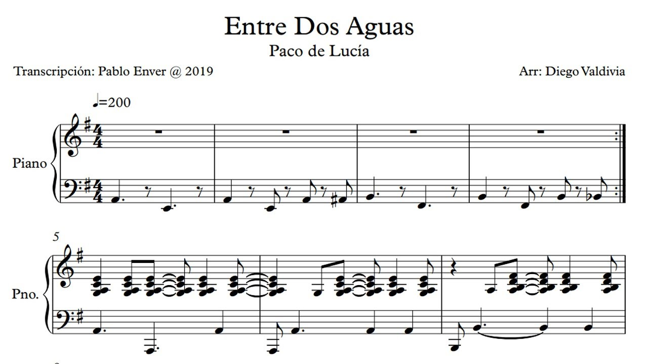 Paco De Lucía Entre Dos Aguas Piano Transcription Youtube