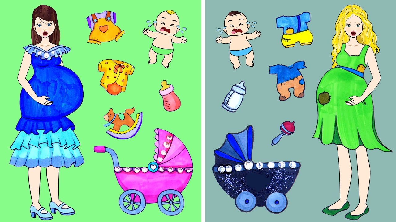 [DIY] Paper Dolls Rich Baby OR Poor Baby? Very Beautiful Dresses Handmade Papercrafts