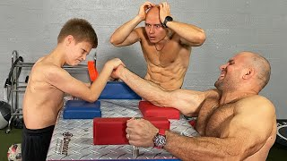 Strongest Kid in the World VS Bodybuilders Armwrestling Battle