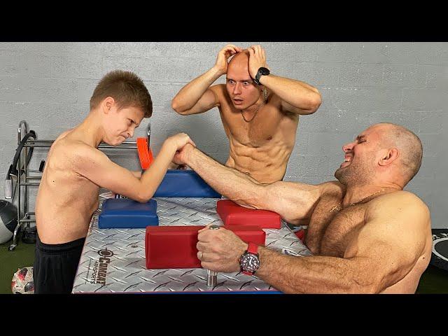 Strongest Kid in the World VS Bodybuilders Armwrestling Battle