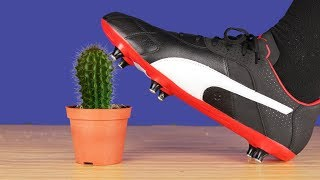 Crushing Crunchy & Soft Things! EXPERIMENT,Football Boots vs Cactus