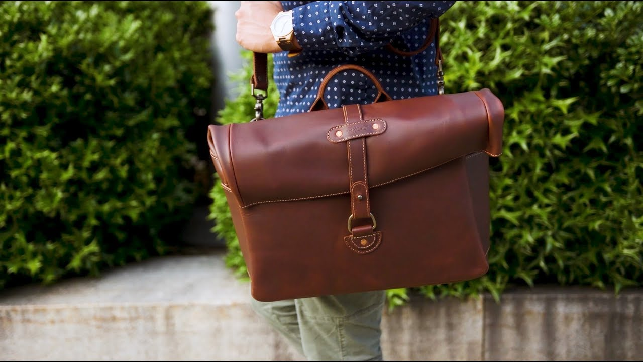 Best Men s Satchel Bag - Leather Satchel from Pad   Quill - YouTube 0dd3cc8781942