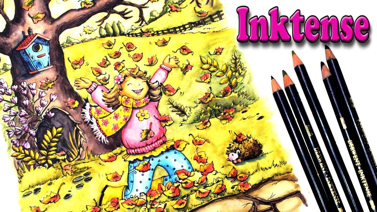 Coloring With Inktense Pencils In Autumn Scenes Book By Creative Haven