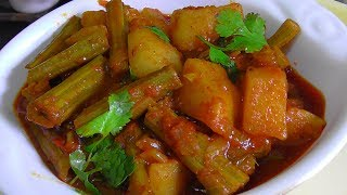 DRUMSTICK POTATO CURRY/how to make mulakkada aalo curry