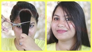 How to cut your own hair at home/ Side swept bangs/INDIANGIRLCHANNEL TRISHA