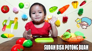 Mainan Anak Balita Potong Buah - Learn Colors With Cutting Fruit & Vegetables Playset For Children