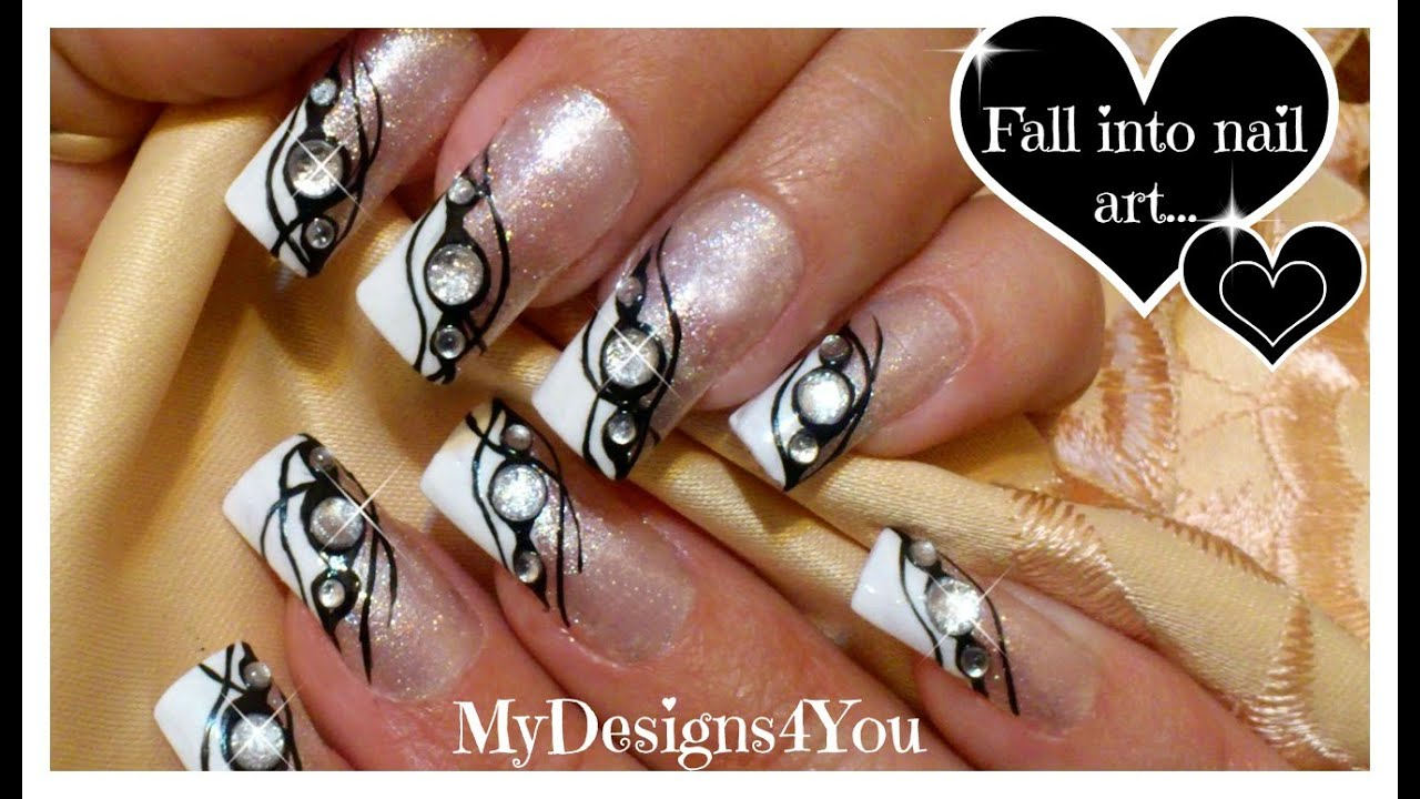 Monochrome Gems Nail Art | Black Tie Event Nails ♥ Черно-Белый ...