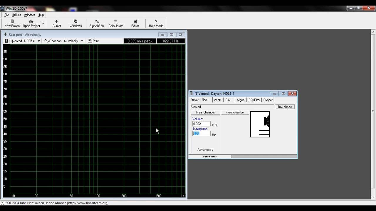 WinISD Tutorial - Ported Speaker - Port size and Air Velocity