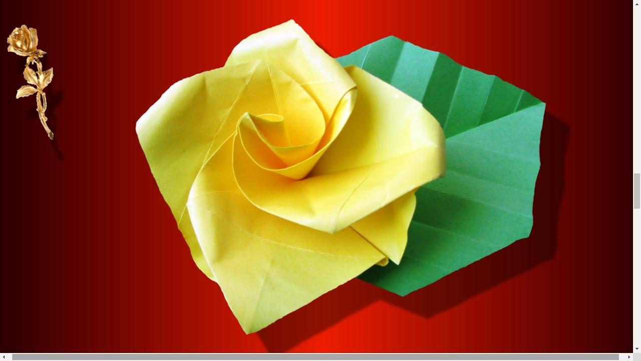origami facile rose tr s tr s facile plier en papier youtube. Black Bedroom Furniture Sets. Home Design Ideas