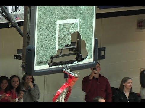 2013 Metro State Opponent Colorado Mines Trevor Wages breaks backboard on dunk