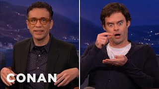 fred armisen fires back at bill haders impression conan on tbs