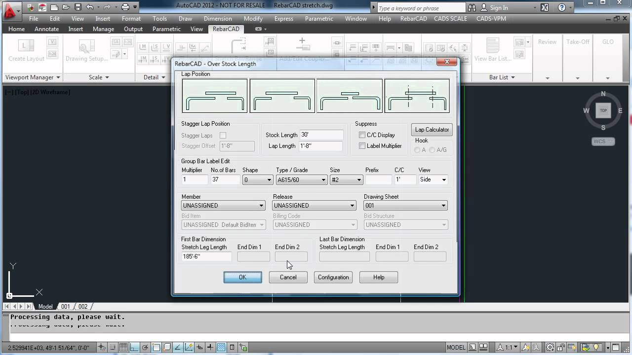 RebarCAD Video Demo 13 (Stretch to Stock Length feature)