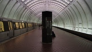 WMATA 1000-Series train makes a station stop at Cleveland Park