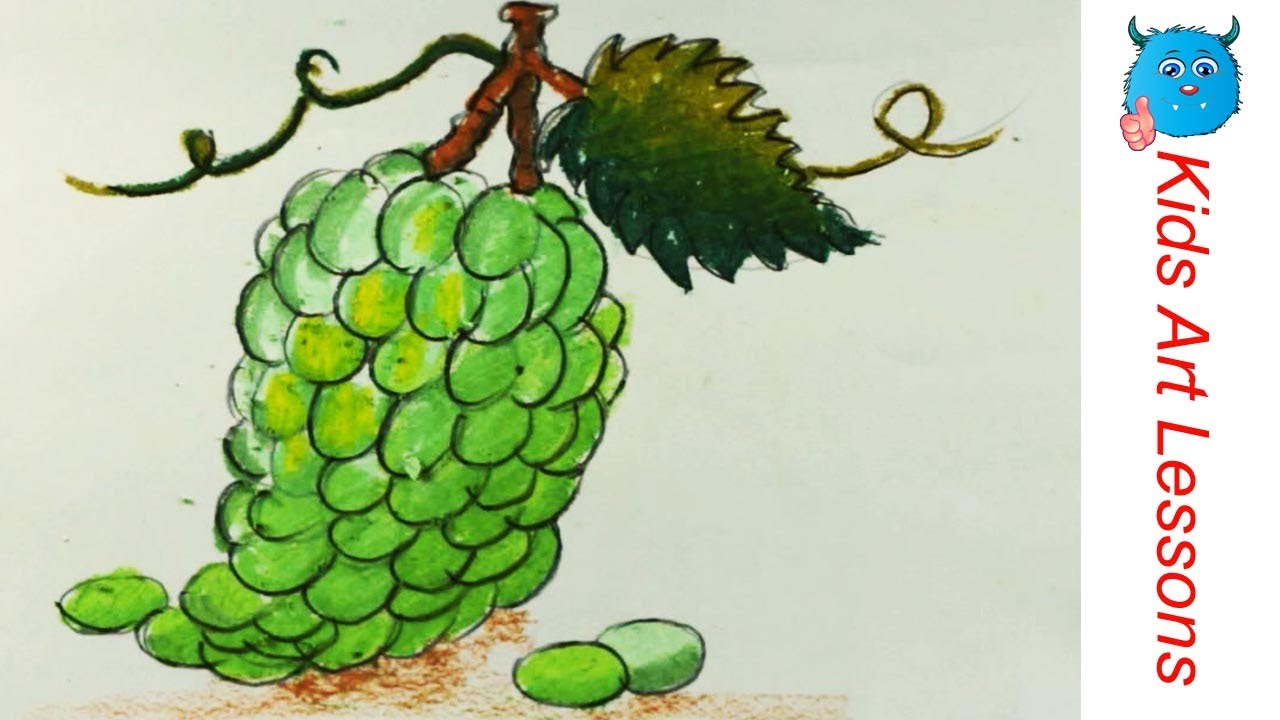 How To Draw Grapes With Oil Pastels Easy Way