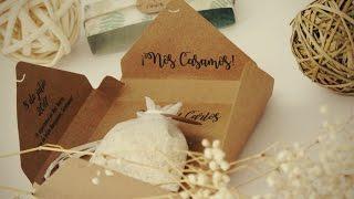 DIY invitación fácil para boda en caja con saquito de arroz incluido