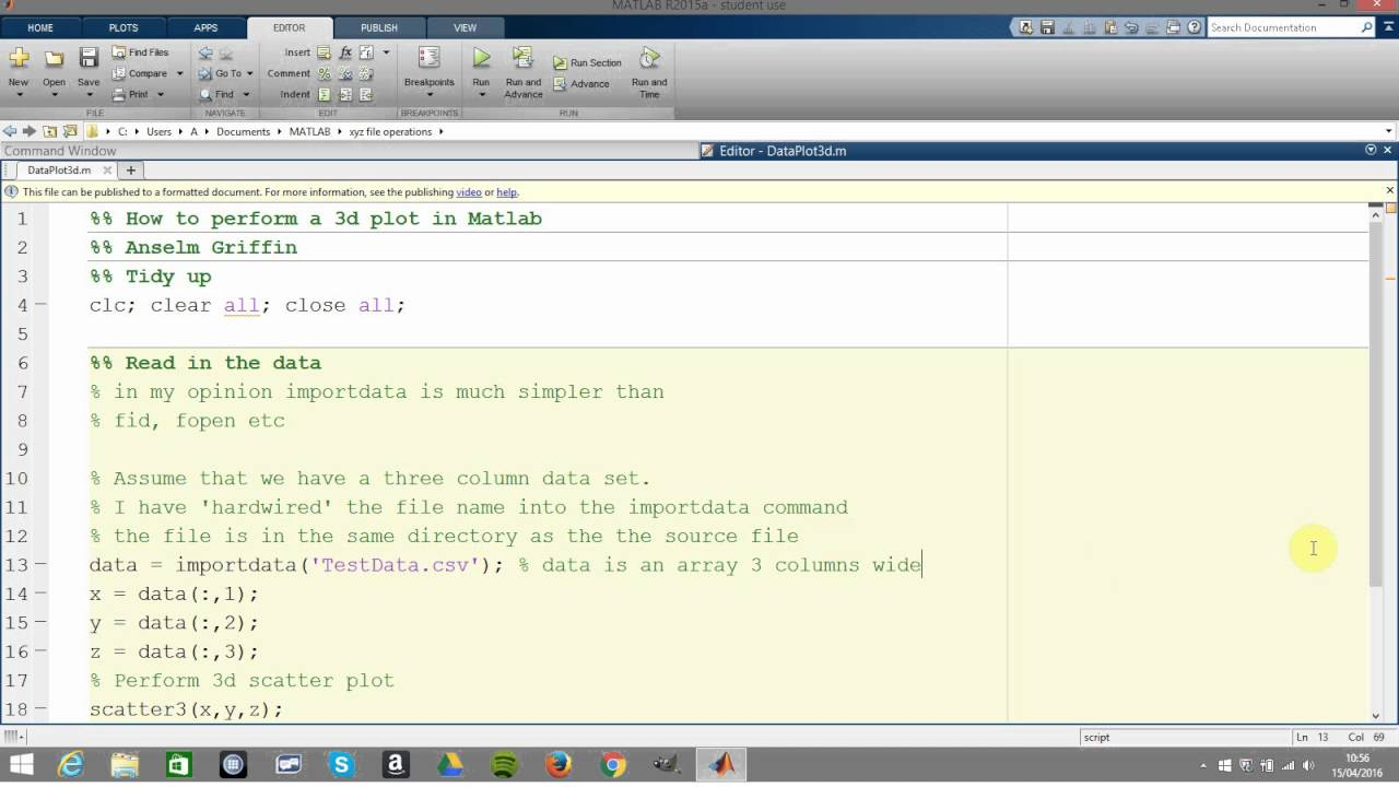 How to perform a 3d scatter plot in Matlab using scatter3 command